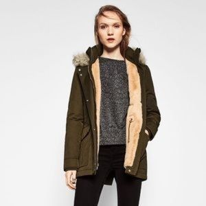 Zara trafuluc green parka jacket coat fur trim